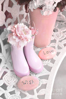 Dreamy Cottage Garden Shabby Chic Pink Boots And Garden Pot - Inspirational Stones Love Wish  Art Print by Kathy Fornal