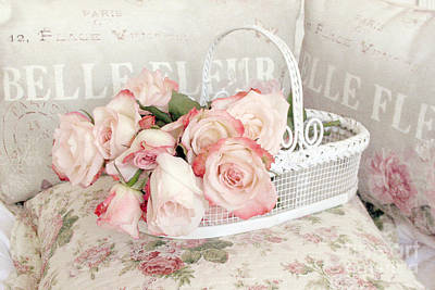 Of Peaches Photograph - Dreamy Cottage Shabby Chic Pink Roses In White Basket - Belle Fleur French Roses by Kathy Fornal