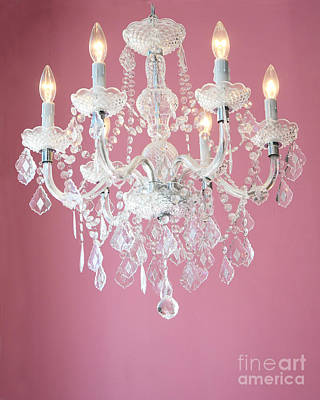Photograph - Dreamy Shabby Chic Pink White Chandelier - Paris Baby Girl Nursery Room Crystal Chandelier Decor by Kathy Fornal