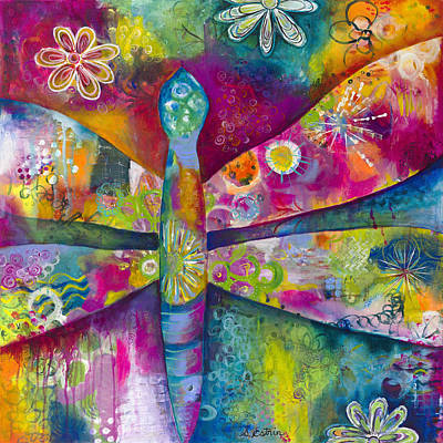Intuitive Painting - Dreamy Dragonfly by Stephanie Estrin