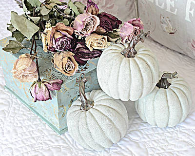 Of Fall Photograph - Dreamy Dried Roses Shabby Chic Cottage Autumn Fall Pastel Pumpkin Art  by Kathy Fornal