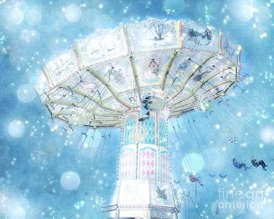 Dreamy Ferris Wheel Baby Boy Blue Carnival Festival Photo - Baby Blue Ferris Wheel Blue Starry Skies Art Print by Kathy Fornal
