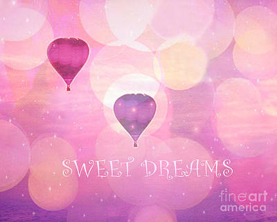 Hot Pink Ferris Wheel Photograph - Dreamy Hot Air Balloons Whimsical Baby Child Nursery Room Art-inspirational Art-sweet Dreams by Kathy Fornal