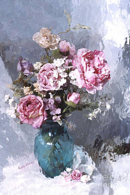 Parisian Chic Photograph - Dreamy Impressionistic Cabbage Roses In Aqua Vase - French Flower Market Paris Romantic Floral Art by Kathy Fornal