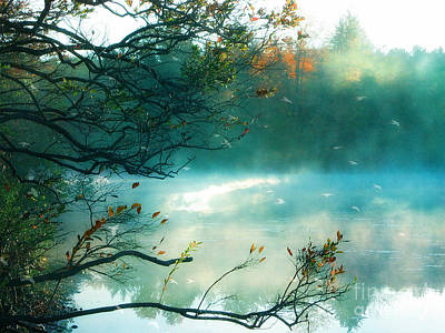 Surreal Landscape Photograph - Dreamy Nature Aqua Teal Fog Pond Landscape - Aqua Turquoise Fall Autumn Nature Decor  by Kathy Fornal