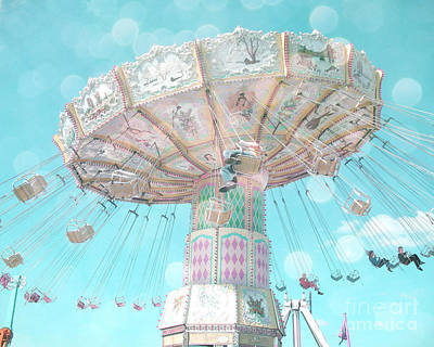 Photograph - Dreamy Pastel Aqua Blue Teal Ferris Wheel Swing Ride Carnival Art - Pastel Kids Room Carnival Decor by Kathy Fornal