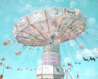 Surreal Ferris Wheel Photograph - Dreamy Pastel Aqua Blue Teal Ferris Wheel Swing Ride Carnival Art - Pastel Kids Room Carnival Decor by Kathy Fornal