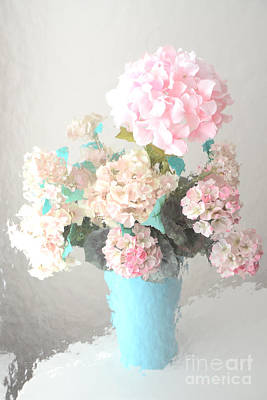 Shabby Chic Cottage Pink And Aqua Teal Impressionistic Shabby Chic Cottage Romantic Floral Bouquet  Art Print