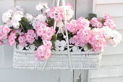 In Baskets Photograph - Dreamy Pink White Hydrangeas In Hanging Basket - Shabby Chic Cottage Hydrangea Romantic Flowers by Kathy Fornal