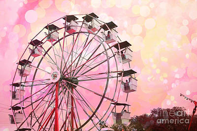 Dreamy Pink Carnival Ferris Wheel Festival Fair Rides - Surreal Pink And Yellow Circus Carnival Art Art Print by Kathy Fornal