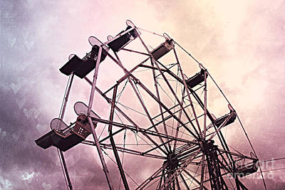 Surreal Pink Carnival Photograph - Dreamy Pink Lavender Baby Girl Nursery Ferris Wheel - Carnival Fair Ferris Wheel With Hearts by Kathy Fornal