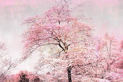 Dreamy Pink Pastel Cottage Shabby Chic Nature Tree Landscape - Fantasy Pink Cottage Trees Nature  Art Print by Kathy Fornal