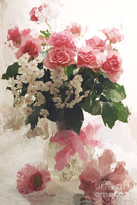 impressionistic Watercolor Roses in Vintage Antique Vase - Pink and White Vintage Roses Art Print by Kathy Fornal
