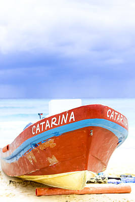 Photograph - Dreamy Red Boat On A Tropical Shore by Mark E Tisdale