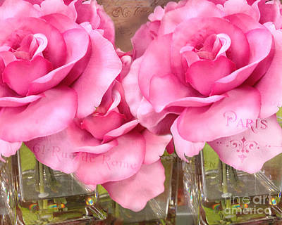 Dreamy Romantic Pink Roses Cottage Garden Shabby Chic Paris Roses  Art Print by Kathy Fornal