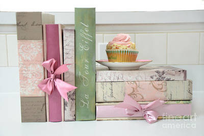 Art Book Photograph - Dreamy Romantic Pastel Shabby Chic Cottage Chic Books With Pink Cupcake - Food Photography by Kathy Fornal