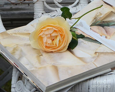 In Memory Of Photograph - Dreamy Romantic Yellow Rose On French Book - Shabby Chic Yellow Rose Decor by Kathy Fornal