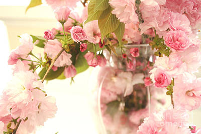 Dreamy Shabby Chic Cottage Pink Cherry Blossoms Flowers In Vase Print by Kathy Fornal