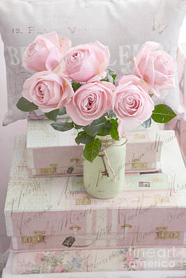 Dreamy Shabby Chic Cottage Pink Teal Romantic Floral Bouquet Roses In Ball Jar - Shabby Chic Pink  Art Print by Kathy Fornal