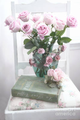 Cottage Art Photograph - Dreamy Shabby Chic Cottage Pink Teal Romantic Floral Bouquet Roses Paris Book On Chair by Kathy Fornal