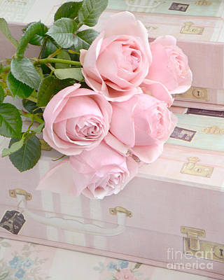 Pink Floral Art Photograph - Dreamy Shabby Chic Pastel Pink Roses On Pink Suitcases - Cottage Chic Romantic Valentine Pink Roses by Kathy Fornal