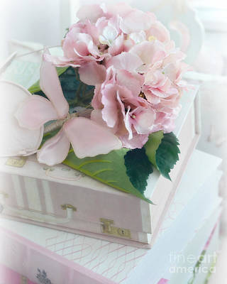 Dreamy Shabby Chic Pink Hydrangea - Romantic Cottage Chic Vintage Pastel Hydrangea Floral Art Art Print by Kathy Fornal