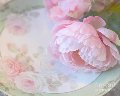 Dreamy Shabby Chic Pink Peonies - Romantic Cottage Chic Vintage Pastel Peonies Floral Art Print by Kathy Fornal