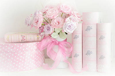 Shabby Chic Romantic Photograph - Dreamy Shabby Chic Pink Roses Pink Books Cottage Art - Romantic Pink Pastel Roses Pink Books Art by Kathy Fornal