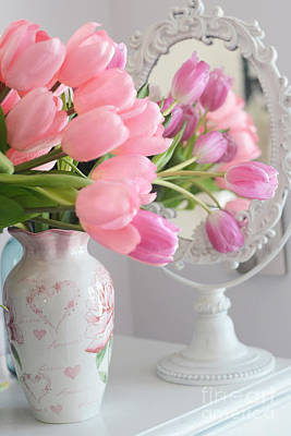 Dreamy Shabby Chic Pink Tulips In Mirror - Romantic Cottage Chic Pink Tulips Art Print by Kathy Fornal