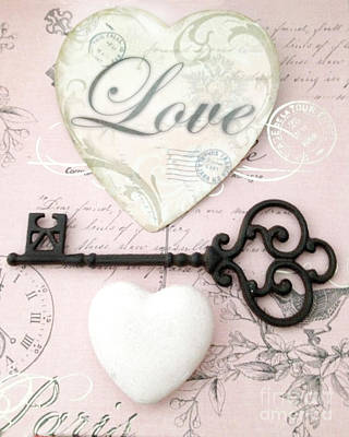 Dreamy Shabby Chic Romantic Valentine Heart Love Skeleton Key And Hearts Print by Kathy Fornal