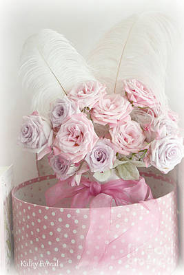 Dreamy Shabby Chic Roses In Pink Polka Dot Hat Box - Romantic Roses Floral Bouquet Art Print by Kathy Fornal