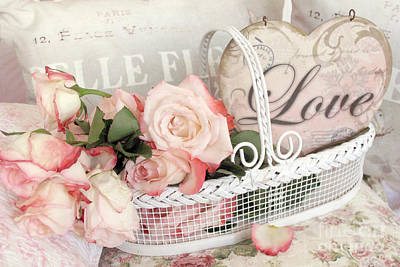 Shabby Chic Romantic Photograph - Dreamy Shabby Chic Roses In Cottage White Basket - Roses And Love Heart by Kathy Fornal