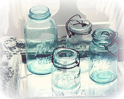 Dreamy Shabby Chic Vintage Ball Mason Atlas Jars - Aqua Blue Vintage Mason Ball Jars Art Print by Kathy Fornal