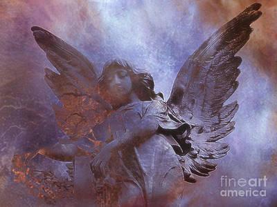 Dreamy Surreal Angel Art - Ethereal Angel Celestial Purple And Bronze Heavenly Angel Art Art Print