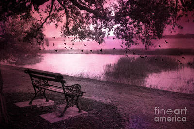 Trees And Lake Photograph - Dreamy Surreal Beaufort South Carolina Lake And Bench Scene by Kathy Fornal