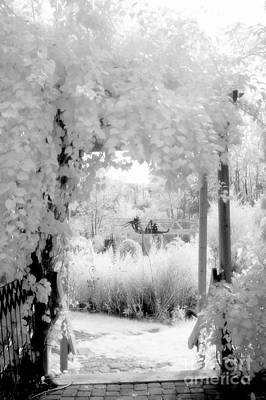 Dreamy Surreal Black White Infrared Arbor Art Print by Kathy Fornal