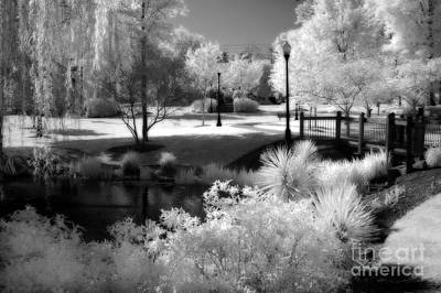 Dreamy Surreal Black White Infrared Landscape Art Print by Kathy Fornal