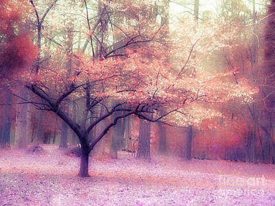 Dreamy Surreal Fall Autumn Ethereal Trees Nature Landscape South Carolina Nature Landscape Art Print by Kathy Fornal