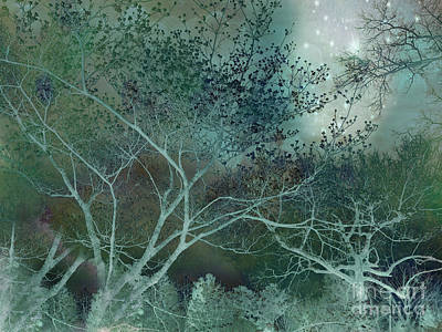 Dreamy Surreal Fantasy Teal Aqua Trees Nature  Art Print by Kathy Fornal