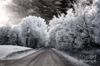 Dreamy Surreal Infrared Country Road Landscape Art Print by Kathy Fornal