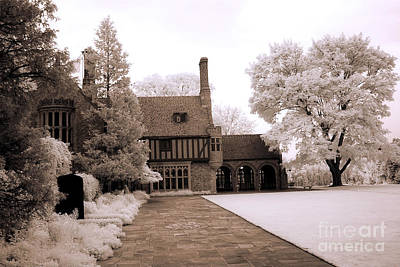 Nature Infrared Photograph - Dreamy Surreal Infrared Michigan Meadowbrook Mansion Landscape by Kathy Fornal