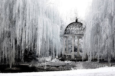 Nature Scene Photograph - Dreamy Surreal Infrared Nature Ethereal Trees With Gazebo  by Kathy Fornal
