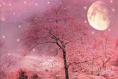 Surreal Nature Photograph - Dreamy Surreal Pink Fantasy Fairytale Trees Moon And Stars by Kathy Fornal