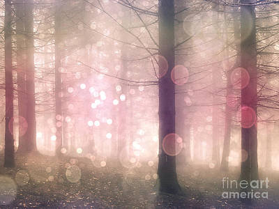 Surreal Nature Photograph - Dreamy Surreal Pink Pastel Fairytale Nature Trees With Bokeh Circles - Fantasy Pink Nature by Kathy Fornal