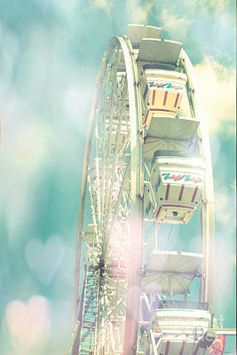 Photograph - Dreamy Teal Aqua Yellow Ferris Wheel Carnival Art With Hearts  by Kathy Fornal