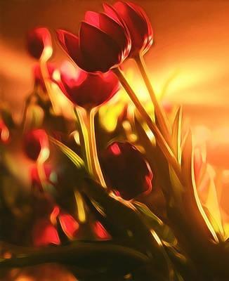 Warm Colors Mixed Media - Dreamy Tulips by Georgiana Romanovna