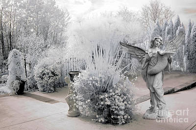 Dreamy White Angel Fantasy Infrared Nature Art Print by Kathy Fornal