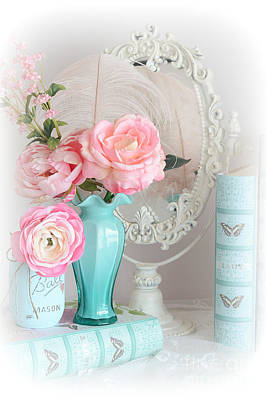 Ball Jars Photograph - Dreamy Shabby Chic Cottage Pink Aqua Floral - Romantic Cottage Chic Pink Roses And Books  by Kathy Fornal