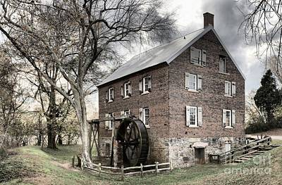 Dreary Skies At Kerr Gristmill Art Print by Adam Jewell