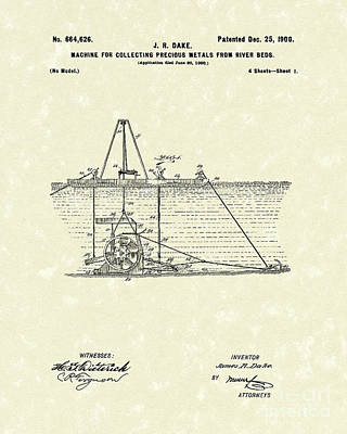 Drawing - Dredger 1900 Patent Art by Prior Art Design
